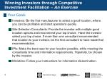 winning investors through competitive investment facilitation an exercise1