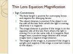 thin lens equation magnification1