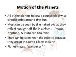 motion of the planets