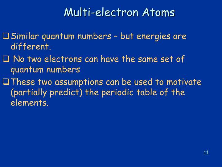 Multi-electron Atoms
