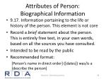 attributes of person biographical information