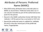 attributes of persons preferred name marc