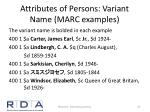 attributes of persons variant name marc examples