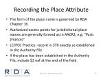 recording the place attribute1