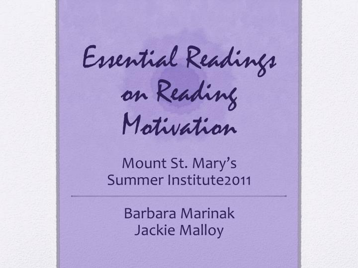 essential readings on reading motivation n.