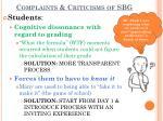 complaints criticisms of sbg