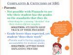 complaints criticisms of sbg1