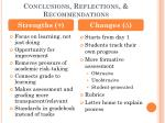 conclusions reflections recommendations