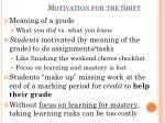 motivation for the shift