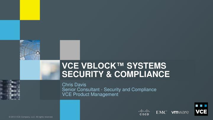 vce vblock systems security compliance n.