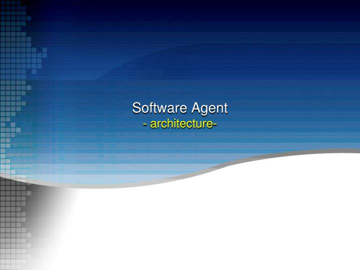 software agent architecture n.