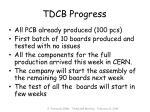 tdcb progress