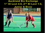 auckland dio exchange 1 st xi lost 4 0 2 nd xi lost 1 0 junior a drew