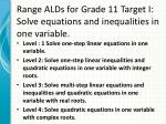 range alds for grade 11 target i solve equations and inequalities in one variable