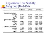 regression low stability subgroup n 1434
