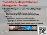 the usgs geologic collections management system