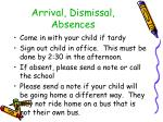 arrival dismissal absences