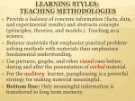 learning styles teaching methodologies