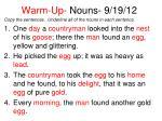 warm up nouns 9 19 121