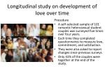 longitudinal study on development of love over time1