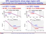efc experiments show edge region with q 4 and r a 0 8 apparently determine stability