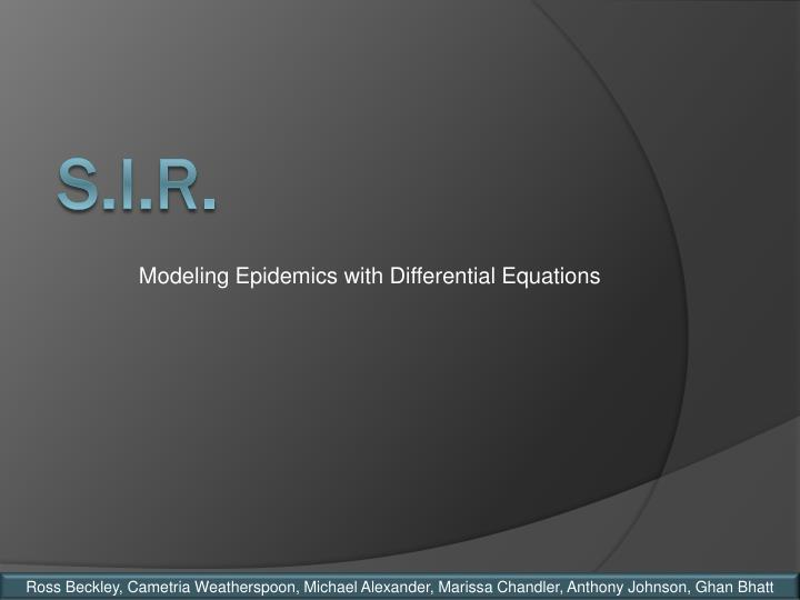 modeling epidemics with differential equations n.