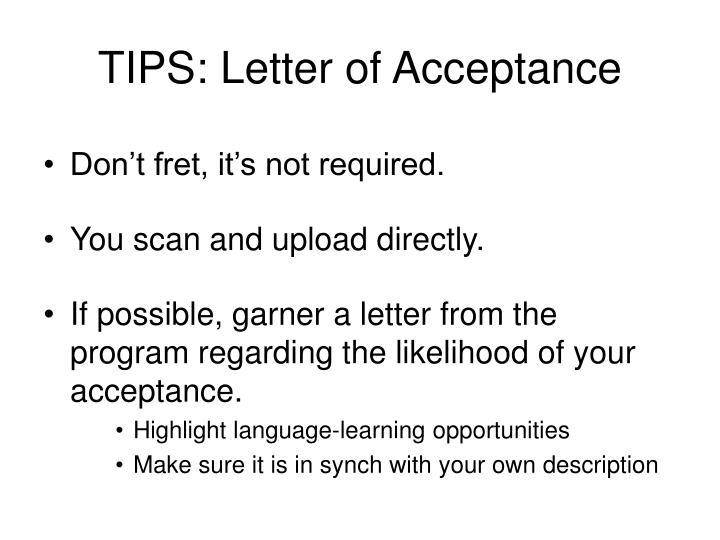 TIPS: Letter of Acceptance