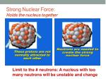 strong nuclear force holds the nucleus together