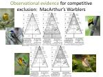 observational evidence for competitive exclusion macarthur s warblers