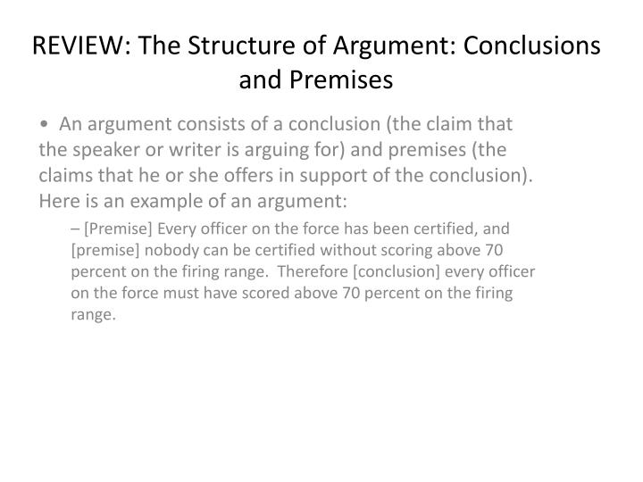 review the structure of argument conclusions and premises n.