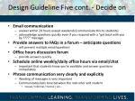 design guideline five cont decide on