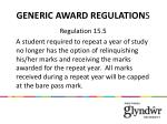 generic award regulation s
