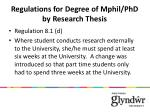 regulations for degree of mphil phd by research thesis