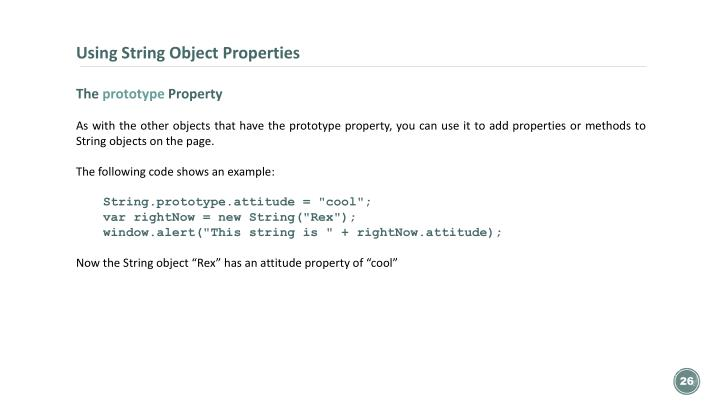 Using String Object Properties