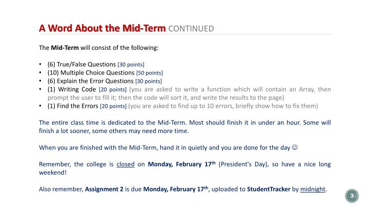 A Word About the Mid-Term