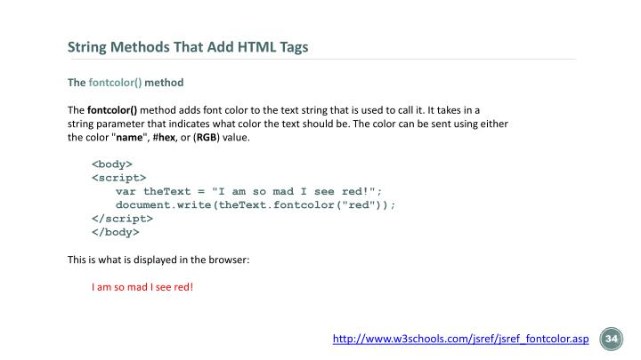 String Methods That Add HTML Tags