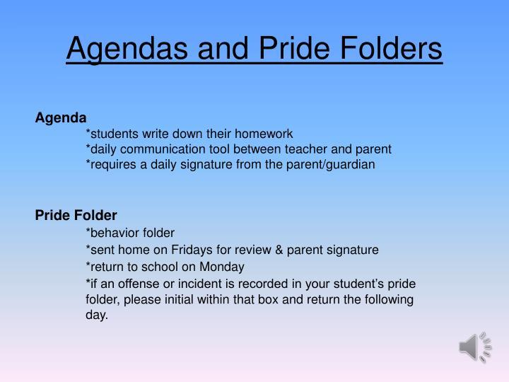 Agendas and Pride Folders