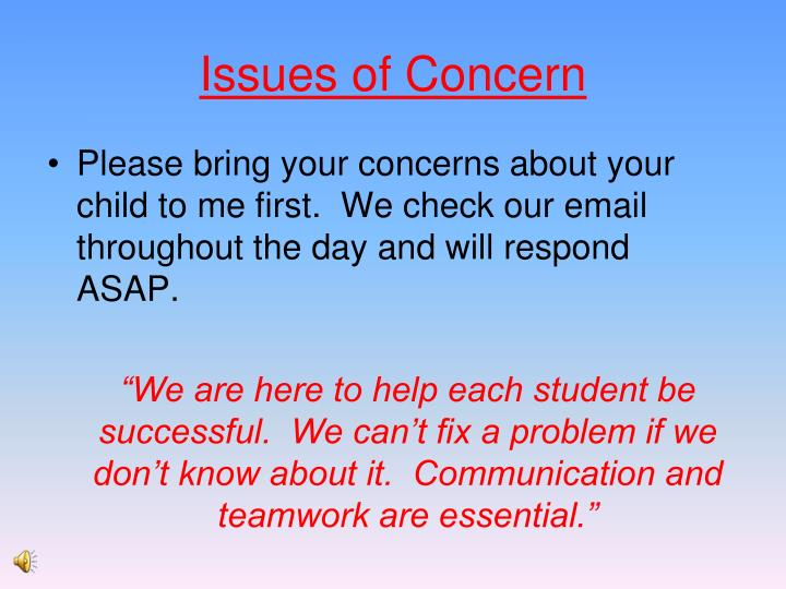 Issues of Concern