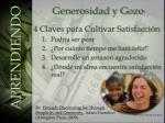 generosidad y gozo