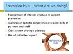 prevention hub what are we doing