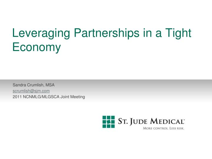 leveraging partnerships in a tight economy n.