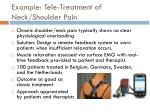 example tele treatment of neck shoulder pain
