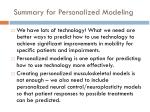summary for personalized modeling