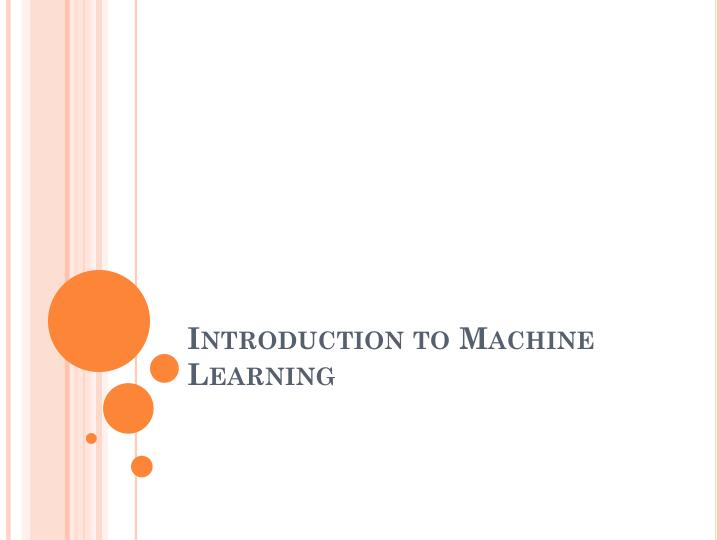 introduction to machine learning n.