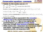 conservation equations comments