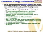 conservation of energy control volume