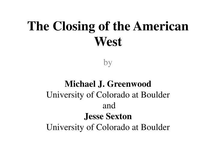 the closing of the american west n.