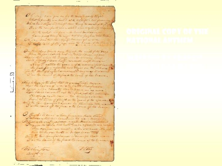 Original copy of the National Anthem