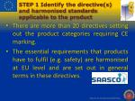 step 1 identify the directive s and harmonised standards applicable to the product