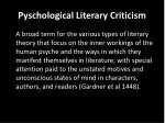 pyschological literary criticism